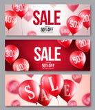 Verkaufsvektorballon-Fahnensatz Sammlungen Fliegenballone mit 50 Prozent heruntergesetzt lizenzfreie abbildung