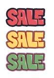 Verkaufsverkaufsverkaufstext-Fahnensatz Stockfotografie