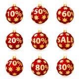 Verkaufsweihnachtskugeln Lizenzfreies Stockbild