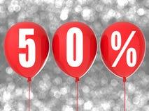 50% Verkaufszeichen auf roten Ballonen Lizenzfreies Stockbild
