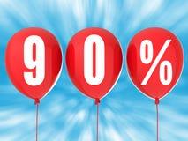 90% Verkaufszeichen auf roten Ballonen Stockbilder