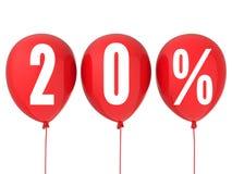 20% Verkaufszeichen auf roten Ballonen Stockfoto