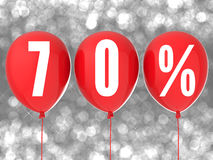 70% Verkaufszeichen auf roten Ballonen Lizenzfreies Stockbild