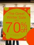 Verkaufszeichen des Speichers der große Winterschlussverkauf bis 70% weg Lizenzfreie Stockfotos