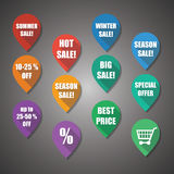 Verkaufszeichen flaches Design-Tag stockbilder