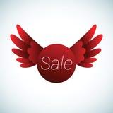 Verkaufszeichen mit roten Flügeln Stockfotografie