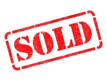 Verkauft auf rotem Stempel. Stockbild