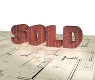 Verkauft - einzelnes Wort 3D Lizenzfreie Stockfotografie