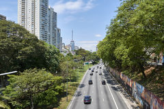 Verkeer in 23 DE Maio Avenue in Sao Paulo Stock Fotografie