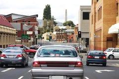 Verkeer in de stad van Hobart Stock Foto