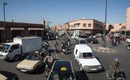 Verkeer in de stad van Marrakech Royalty-vrije Stock Afbeelding