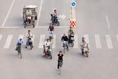 Verkeer in de vroege ochtend, Zhaojiakou, China Royalty-vrije Stock Afbeelding