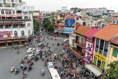 Verkeer in Hanoi Van de binnenstad, Vietnam Stock Afbeelding