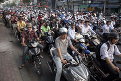 Verkeer in Ho Chi Minh City Royalty-vrije Stock Foto