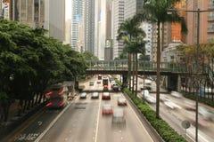 Verkeer in Hongkong Wan Chai stock afbeelding