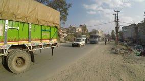 Verkeer in Katmandu, Nepal stock footage