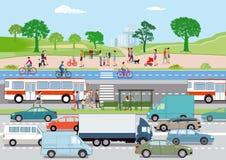 Verkeer met voetgangers en fietsers royalty-vrije illustratie