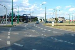 Verkeer op Rataje-rotonde in Poznan, Polen royalty-vrije stock afbeelding
