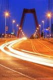 Verkeer op willemsbridge in Rotterdam Stock Afbeelding