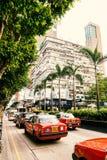 Verkeer van Rode Taxi op de straat Royalty-vrije Stock Afbeeldingen
