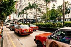 Verkeer van Rode Taxi op de straat Royalty-vrije Stock Fotografie