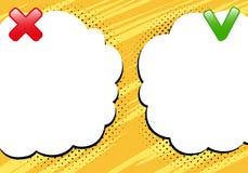 Verkeerd of correcte malplaatjeachtergrond Het ontwerp van de strippaginastijl Vector illustratie Stock Afbeelding