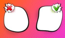 Verkeerd of correcte malplaatjeachtergrond Het ontwerp van de strippaginastijl Vector illustratie Stock Foto