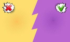 Verkeerd of correcte malplaatjeachtergrond Het ontwerp van de strippaginastijl Vector illustratie Royalty-vrije Stock Afbeelding