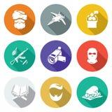 Verkeerde godsdienstige Geplaatste het onderwijspictogrammen Vector illustratie Stock Foto's