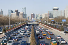 Verkeerscongestie op 3de Ring Road in Peking, China Royalty-vrije Stock Afbeelding