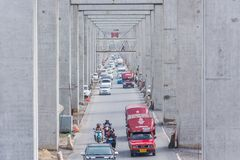 Verkeerscongestie op weg Stock Afbeelding