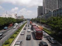 Verkeerslandschap van Shenzhen 107 Nationale Weg Royalty-vrije Stock Fotografie