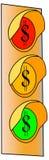 Verkeerslicht 2 van het Teken van de dollar Stock Fotografie