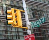 Verkeerslicht en broadway Stock Foto