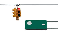 Verkeerslicht en teken Stock Afbeelding