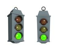 Verkeerslicht met een brandend groen signaal Stock Afbeelding