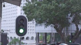 Verkeerslicht op de weg van de stadsweg en auto's die zich op stedelijke gebouwen als achtergrond bewegen Verkeerslicht en autove stock videobeelden
