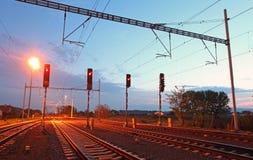 Verkeerslicht in spoorweg Royalty-vrije Stock Afbeeldingen