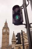 Verkeerslicht in Westminster, Londen Stock Foto's