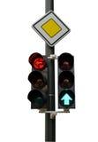 Verkeerslichten met rode en groene wijzer en verkeersteken Royalty-vrije Stock Afbeeldingen