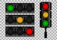 Verkeerslichten op transparante vectorachtergrond Stock Afbeelding