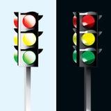 Verkeerslichten - steekt dag en nacht illustratie aan Stock Afbeeldingen