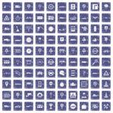 100 verkeerspictogrammen geplaatst grunge saffier Stock Foto