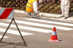 Verkeersreeks: Vernieuw de Weg Merkend op de Straat Royalty-vrije Stock Fotografie
