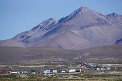 Verkeersrij op Altiplano van Noordelijk Chili Stock Fotografie