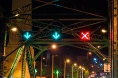 Verkeerssymbolen op de Herdenkingsbrug Royalty-vrije Stock Foto