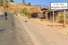 Verkeersteken aan het dorp van Negade Bahir in Ethiopië Royalty-vrije Stock Foto