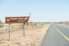 Verkeersteken aan het Nationale Park van Mokala Stock Foto