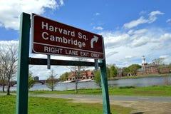 Verkeersteken aan het Vierkant van Harvard stock afbeelding