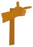 Verkeersteken als hand van houten raad Royalty-vrije Stock Afbeelding